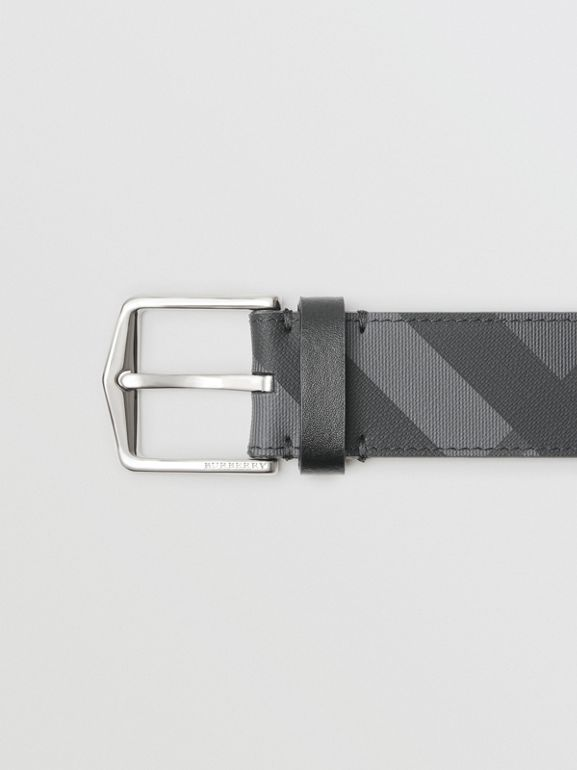 London Check Belt in Charcoal/black - Men | Burberry United Kingdom - cell image 1