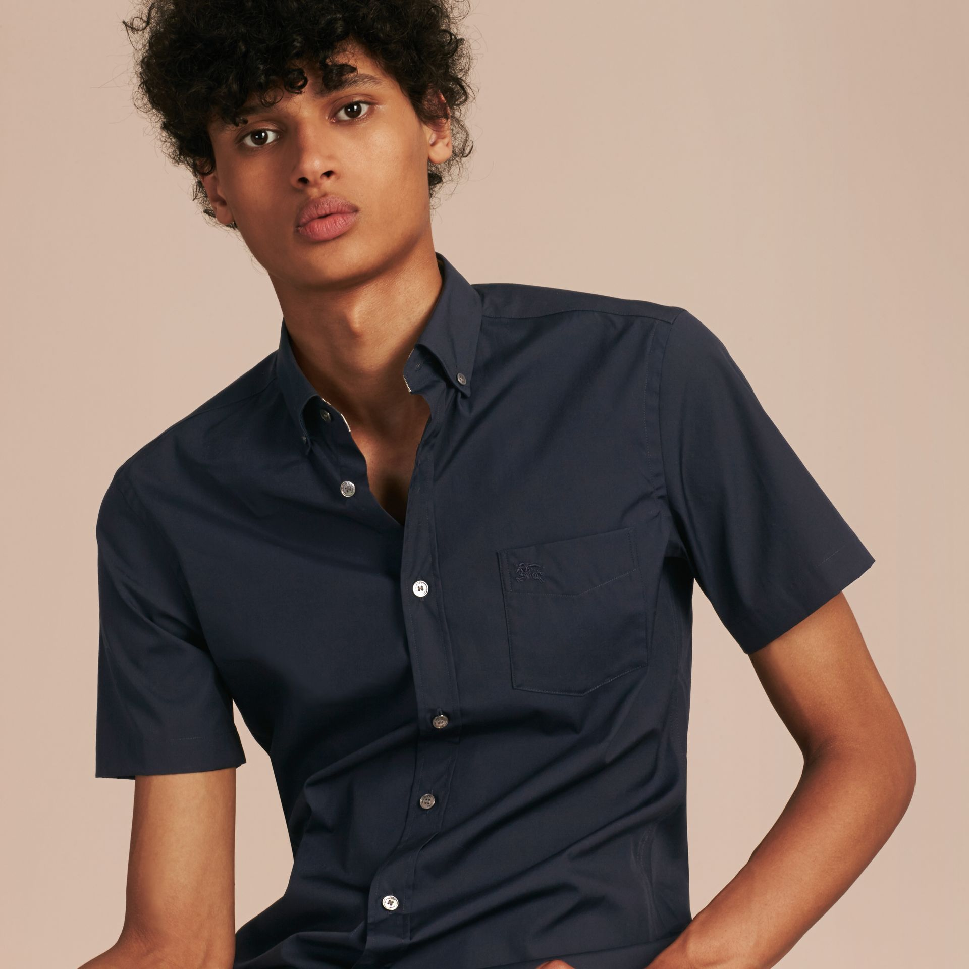 Short-sleeved Stretch Cotton Poplin Shirt in Navy - Men | Burberry - gallery image 6