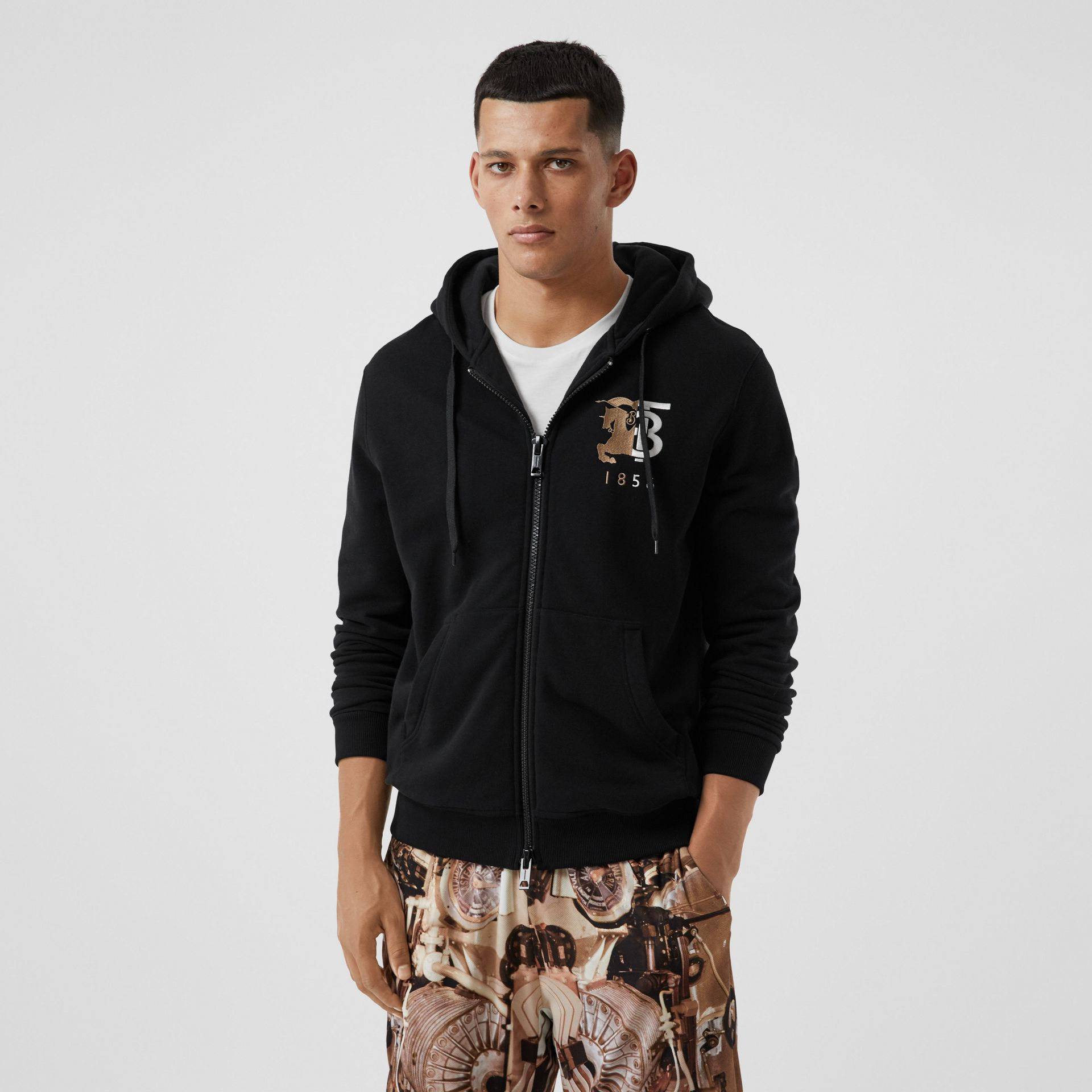 Contrast Logo Graphic Cotton Hooded Top in Black - Men | Burberry - gallery image 0