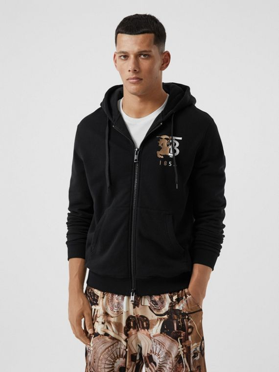 Contrast Logo Graphic Cotton Hooded Top in Black