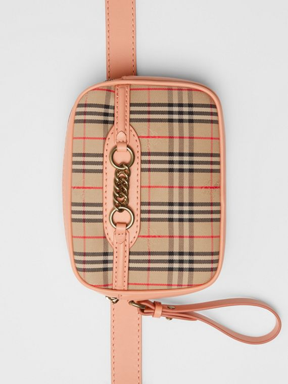 The 1983 Check Link Bum Bag with Leather Trim in Peach