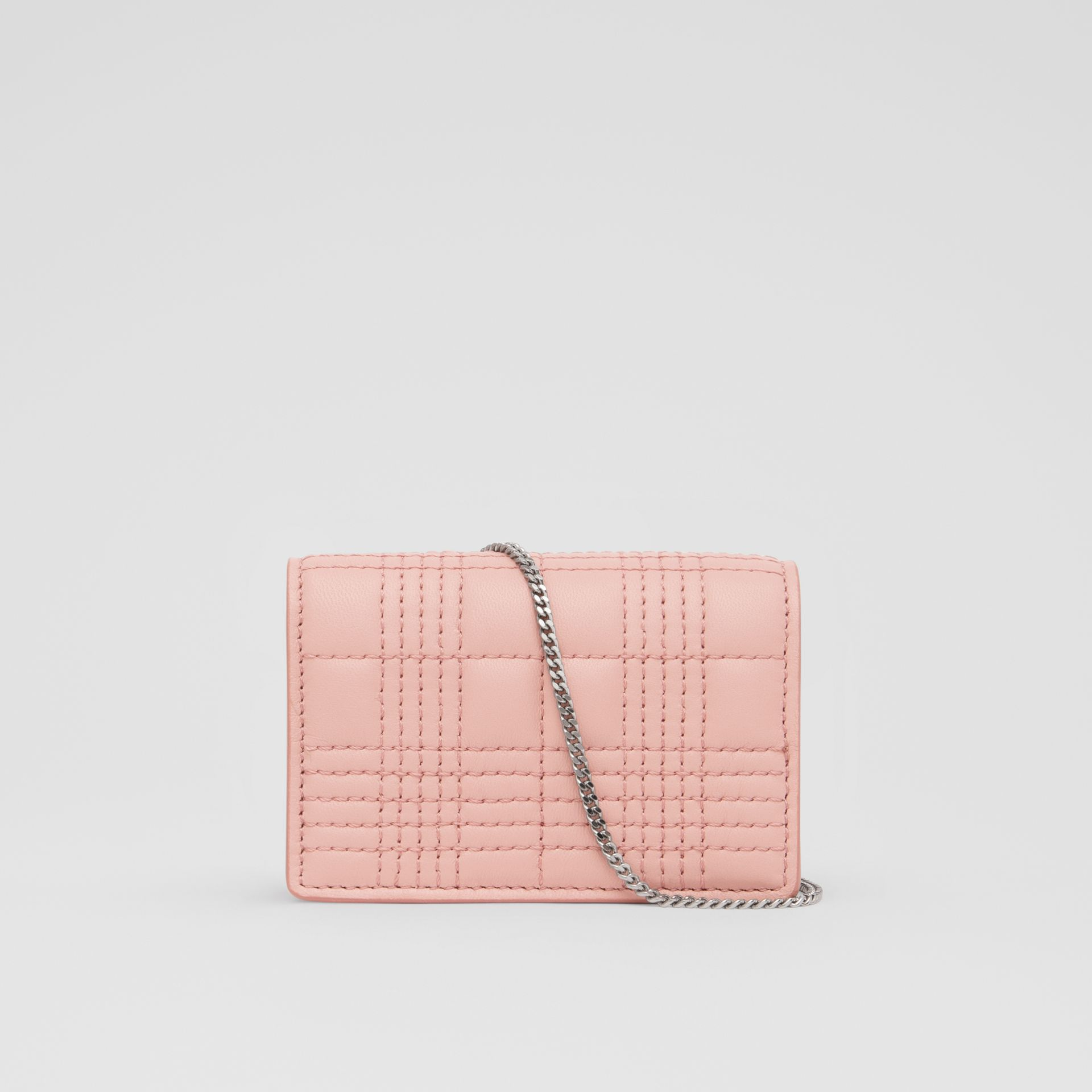 Quilted Lambskin Card Case with Detachable Strap in Blush Pink | Burberry - gallery image 8