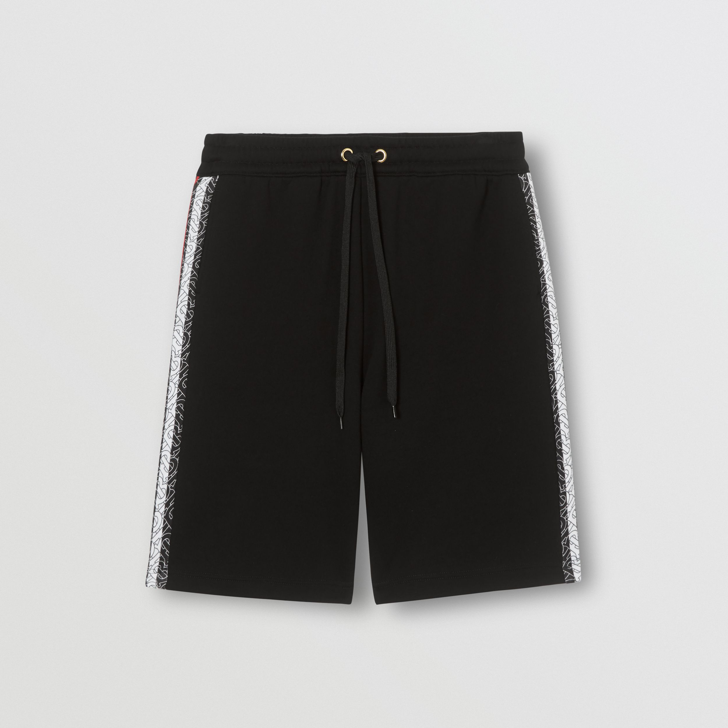 Monogram Stripe Print Cotton Shorts in Black - Men | Burberry - 4