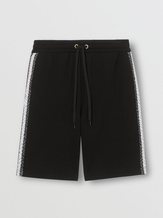 Monogram Stripe Print Cotton Shorts in Black