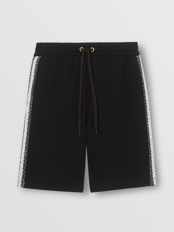 Monogram Stripe Print Cotton Shorts in Black - Men | Burberry - cell image 3