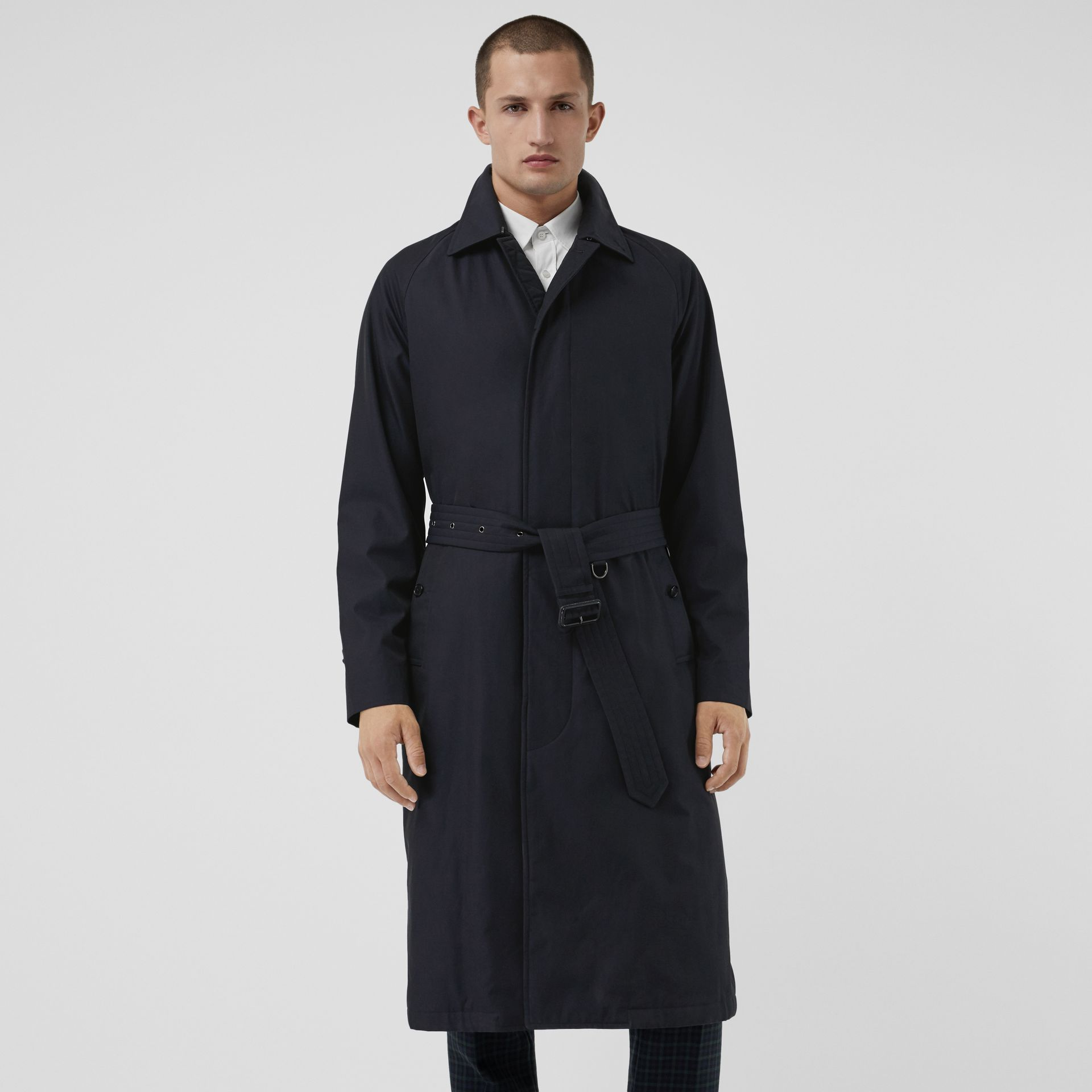 Quilt-lined Tropical Gabardine Belted Car Coat in Blue Carbon - Men | Burberry Singapore - gallery image 4