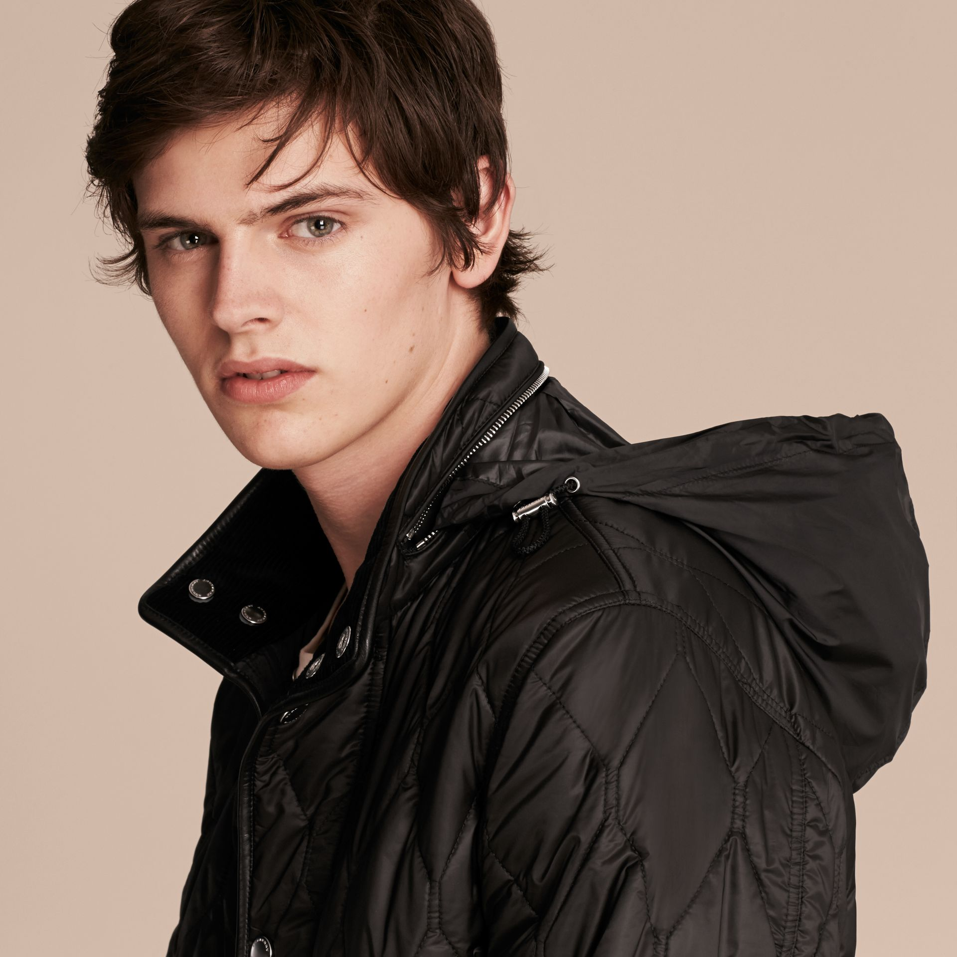 Black Stand-collar Military-quilted Jacket with Packaway Hood - gallery image 6