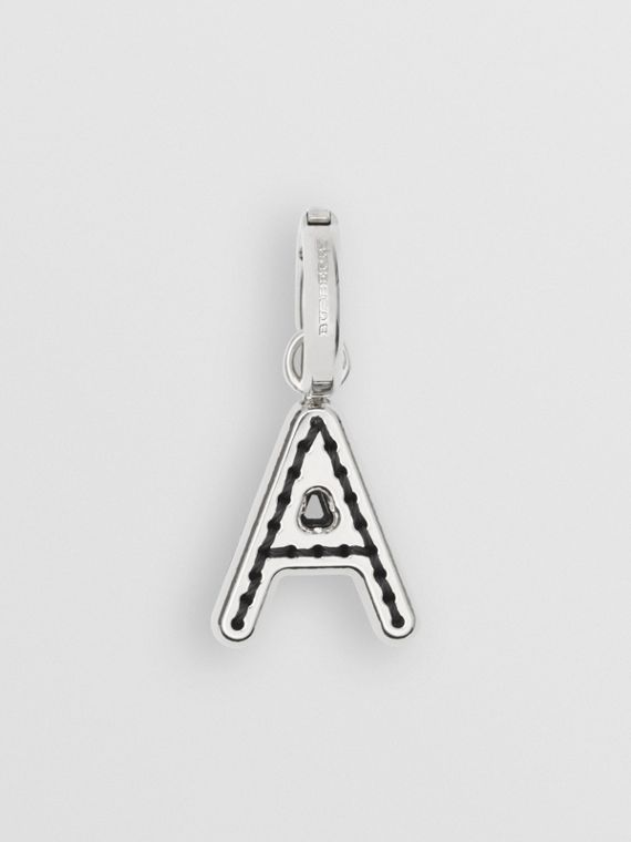Leather-topstitched 'A' Alphabet Charm in Palladio/grey