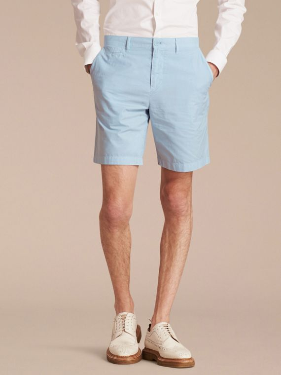 Cotton Poplin Chino Shorts Pale Opal Blue