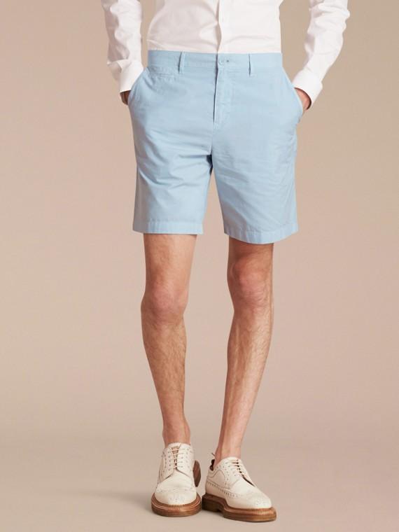 Pantaloncini chino in popeline di cotone Blu Opale Pallido