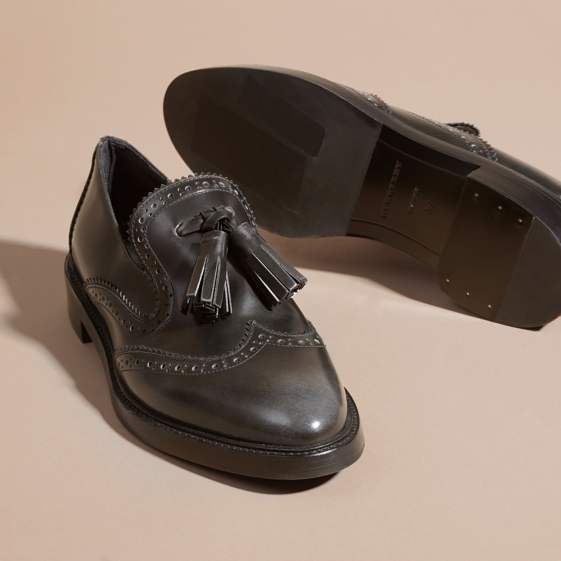 Ink grey Dégradé Tassel Detail Leather Loafers Ink Grey - gallery image 2