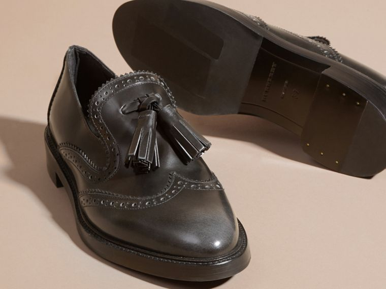 Ink grey Dégradé Tassel Detail Leather Loafers Ink Grey - cell image 1