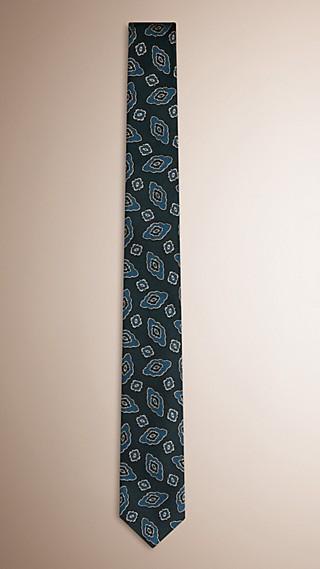 Cravatta dal taglio sottile in seta jacquard con motivo floreale astratto