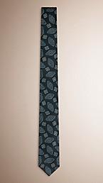 Slim Cut Abstract Floral Jacquard Silk Tie