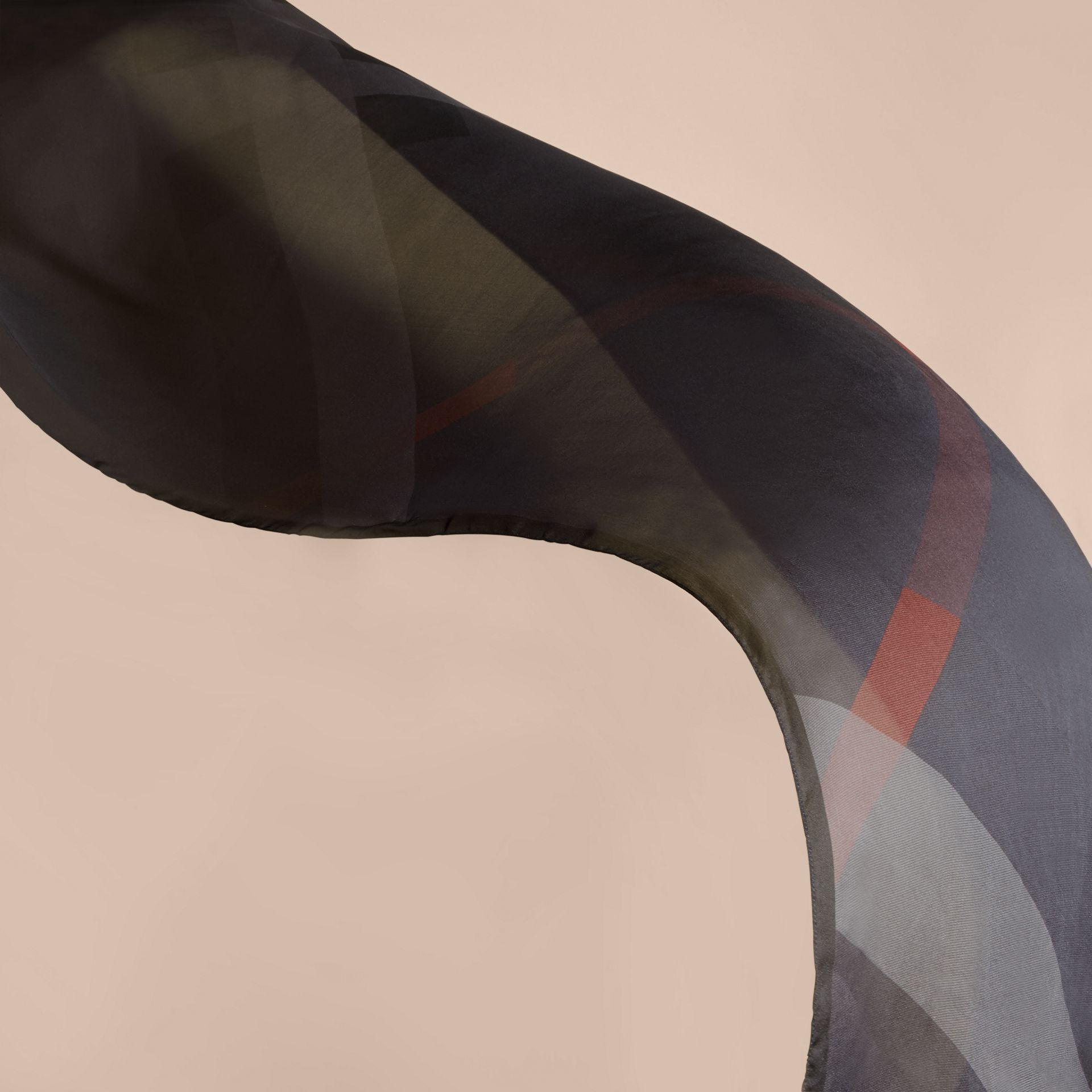 Ombré Washed Check Silk Scarf Charcoal - gallery image 4