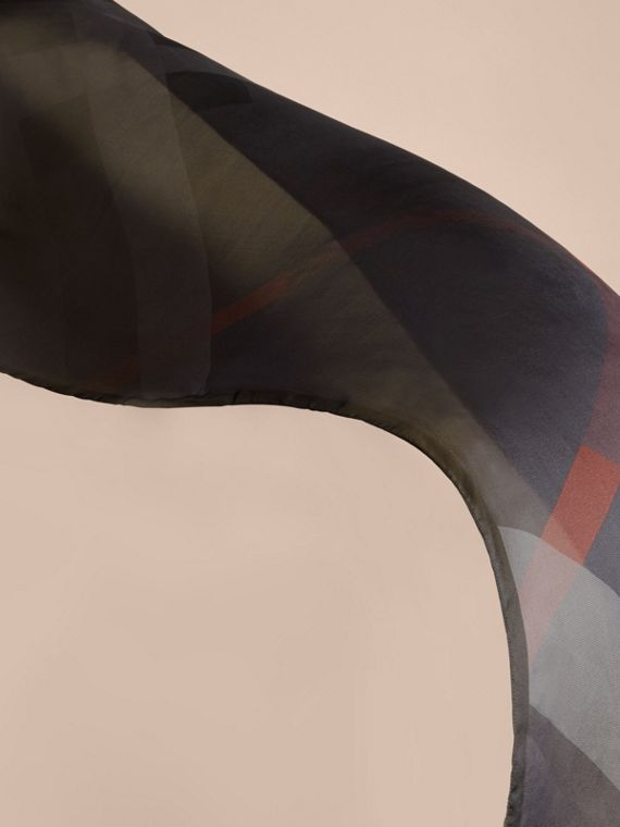 Ombré Washed Check Silk Scarf in Charcoal - Women | Burberry Singapore - cell image 3