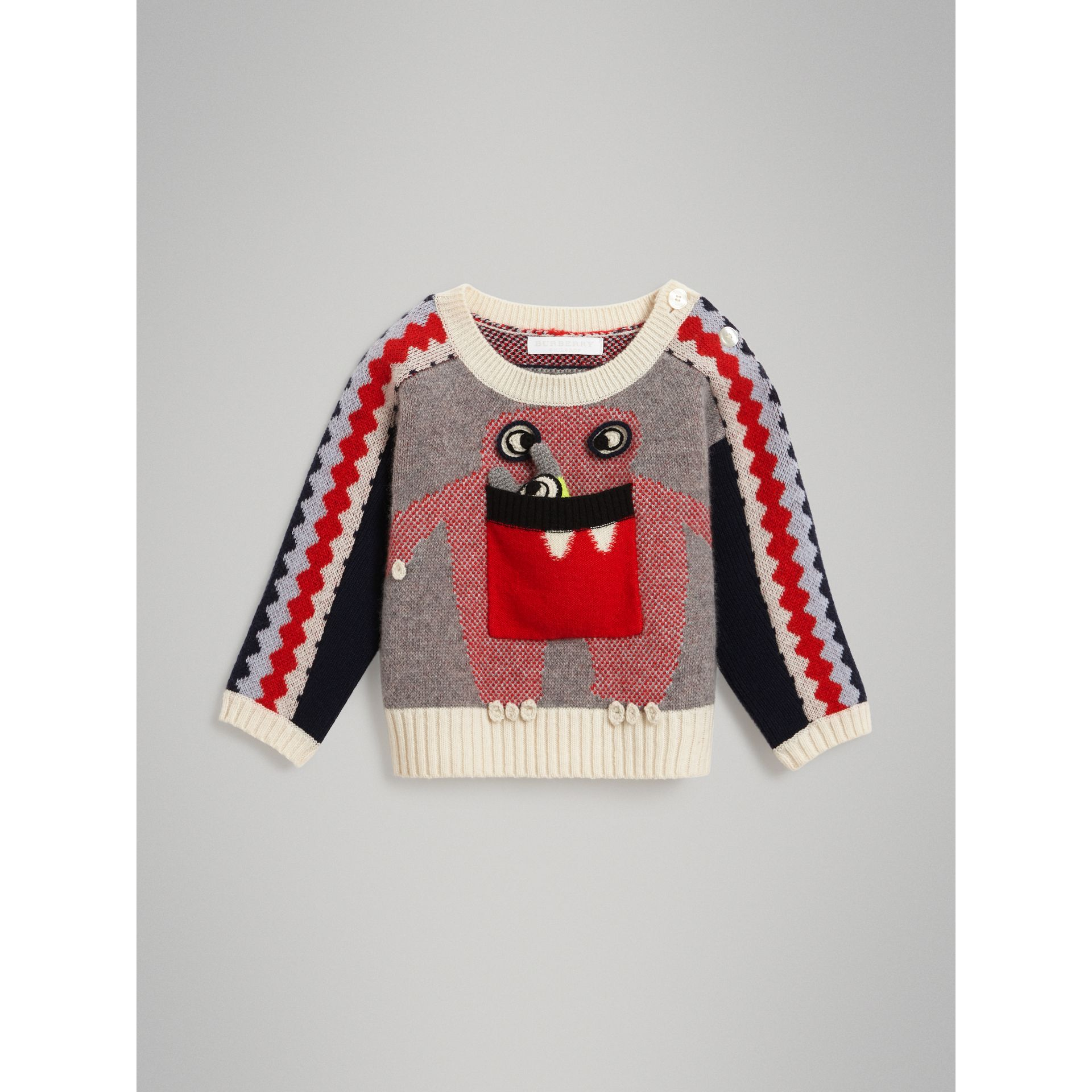 Monster Cashmere Jacquard Sweater in Bright Red - Children | Burberry Singapore - gallery image 0