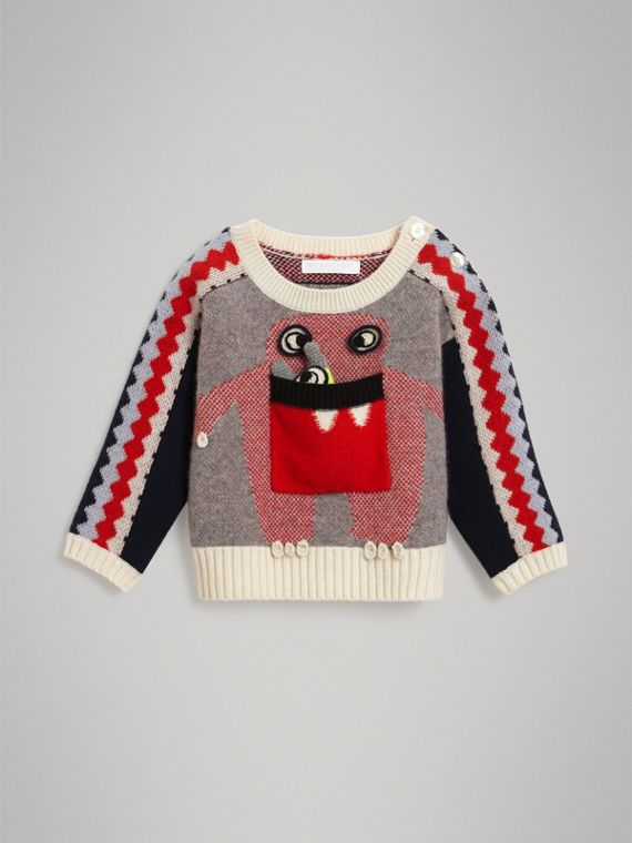 Monster Intarsia Cashmere Sweater in Bright Red