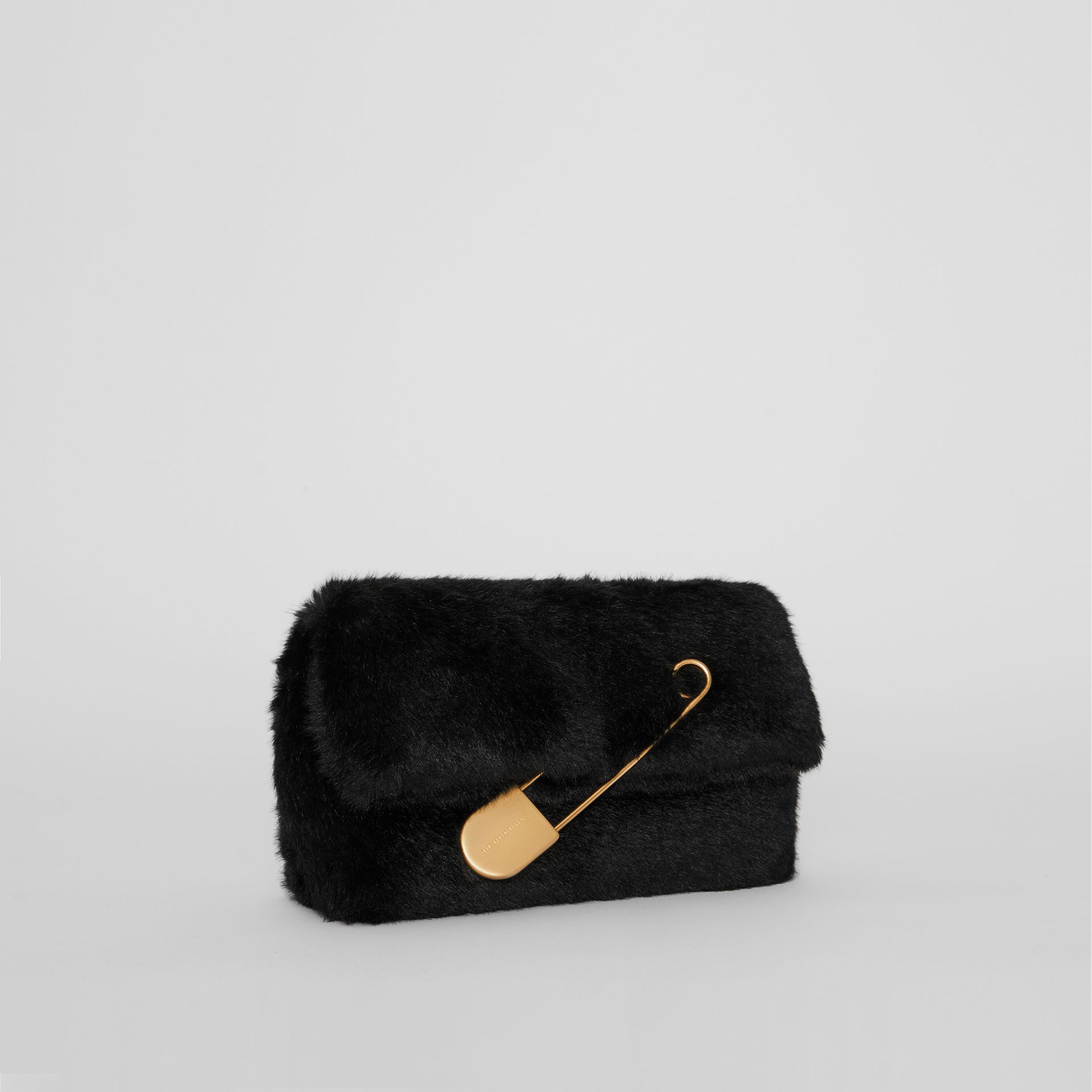 The Medium Pin Clutch in Faux Fur in Black - Women | Burberry - gallery image 4