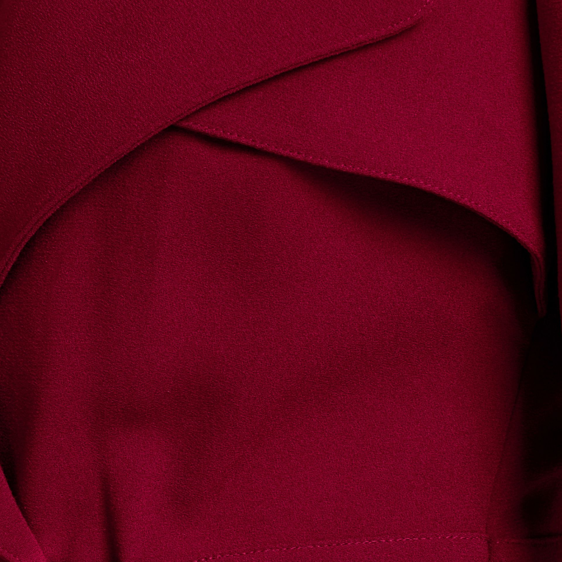 Garnet Buckle Detail Satin-back Crepe Trench Dress Garnet - gallery image 2