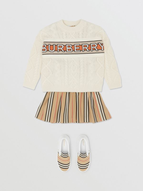 Logo Panel Cable Knit Wool Cashmere Sweater in Ivory | Burberry United States - cell image 2