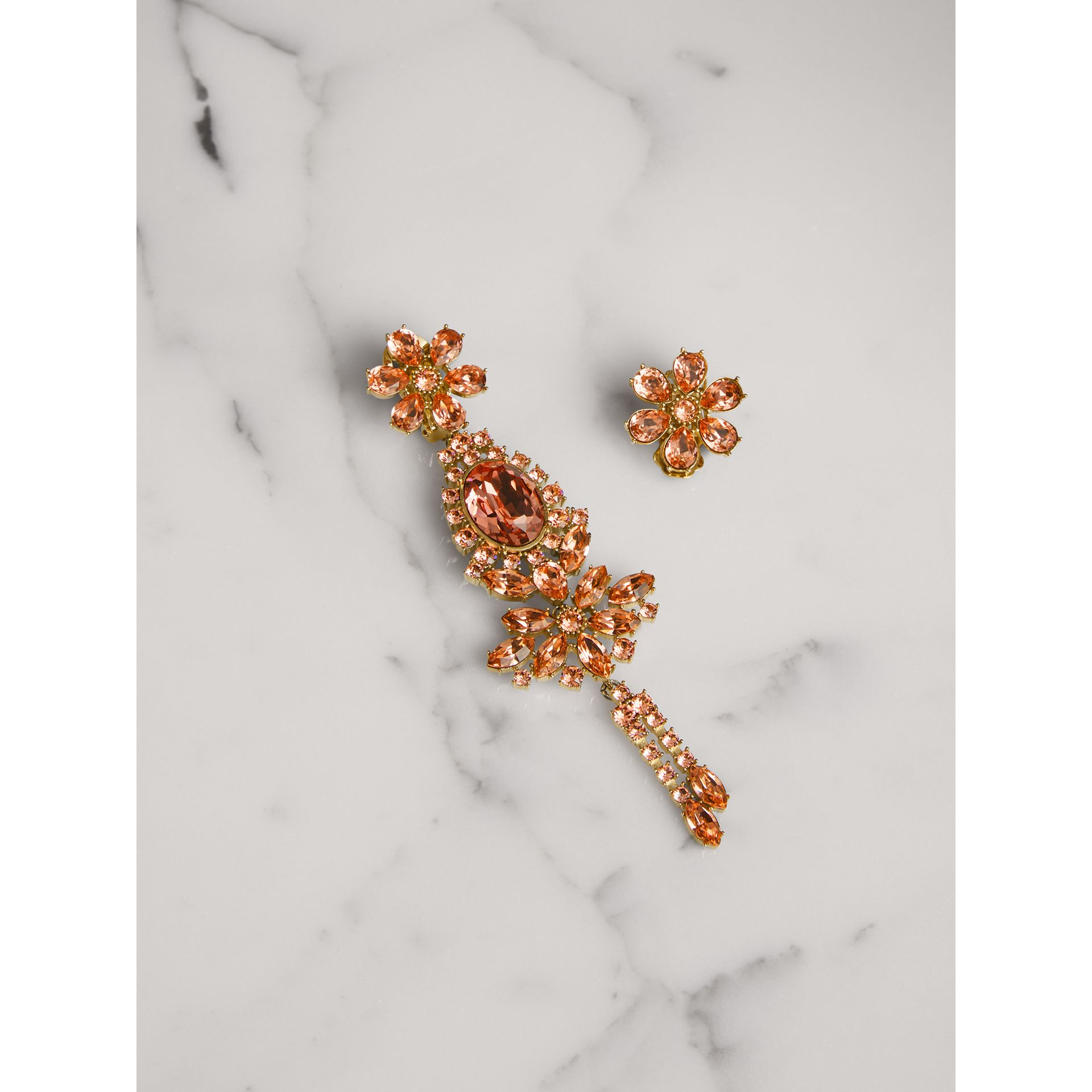 Crystal Drop Earring and Stud Set in Coral Pink - Women | Burberry United Kingdom - gallery image 0