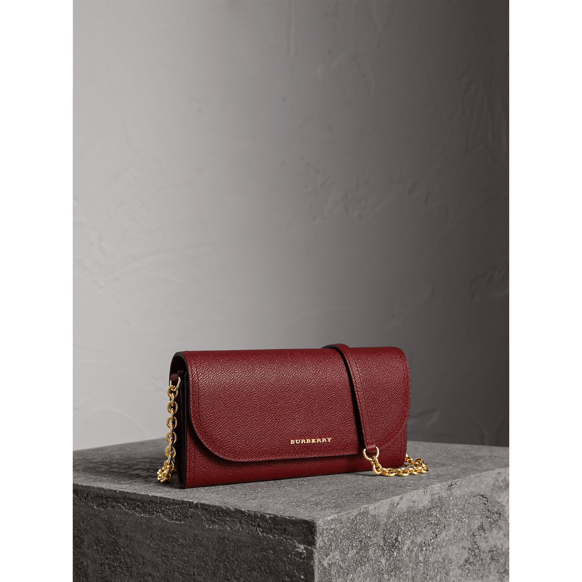 Leather Wallet with Chain in Burgundy - Women | Burberry - gallery image 0