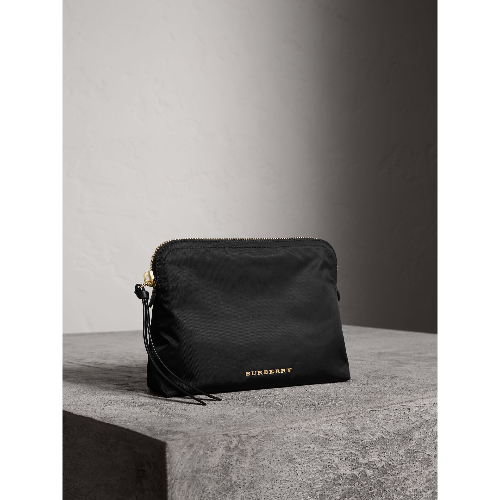 Large Zip-top Technical Nylon Pouch in Black - Women | Burberry Australia - gallery image 7