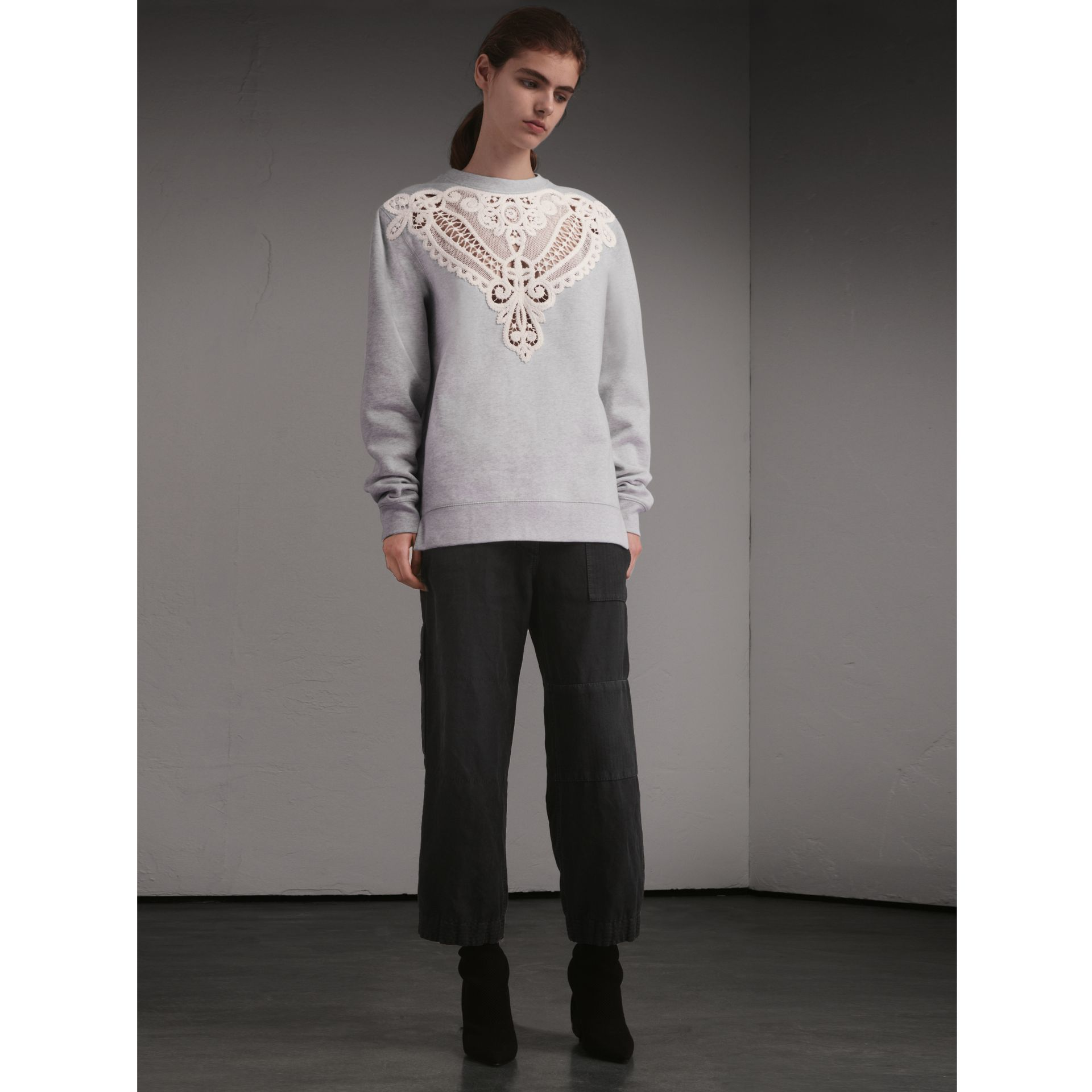Unisex Lace Cutwork Sweatshirt in Light Grey Melange - Women | Burberry Singapore - gallery image 7