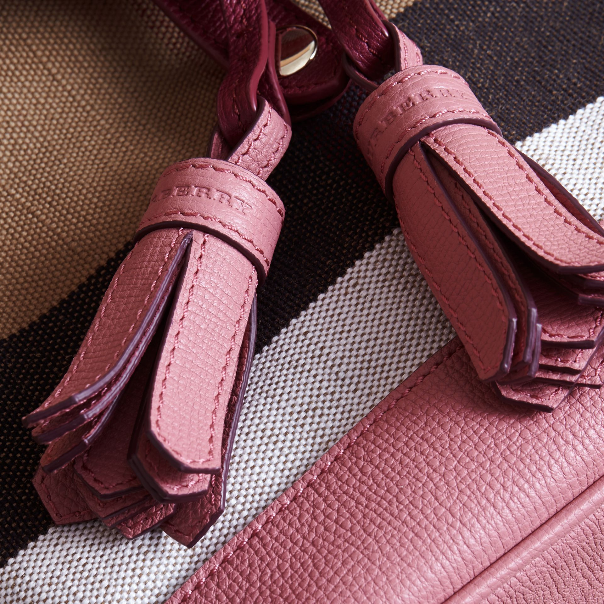 Weather Motif Canvas Check Mini Backpack in Mauve Pink | Burberry - gallery image 2