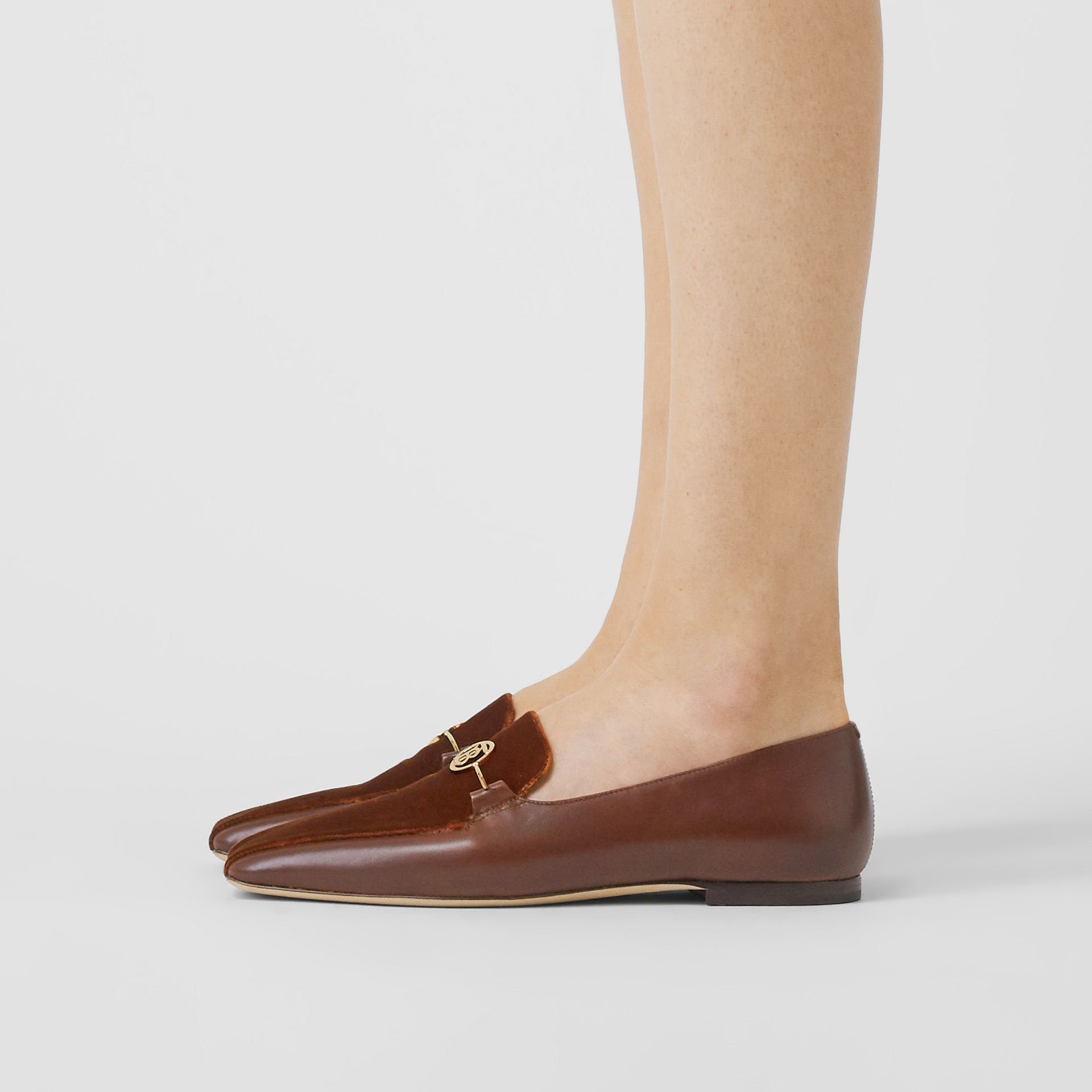 Monogram Motif Velvet and Leather Loafers in Dark Chocolate/tan - Women | Burberry United Kingdom - gallery image 2