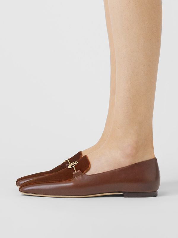 Monogram Motif Velvet and Leather Loafers in Dark Chocolate/tan - Women | Burberry Singapore - cell image 2