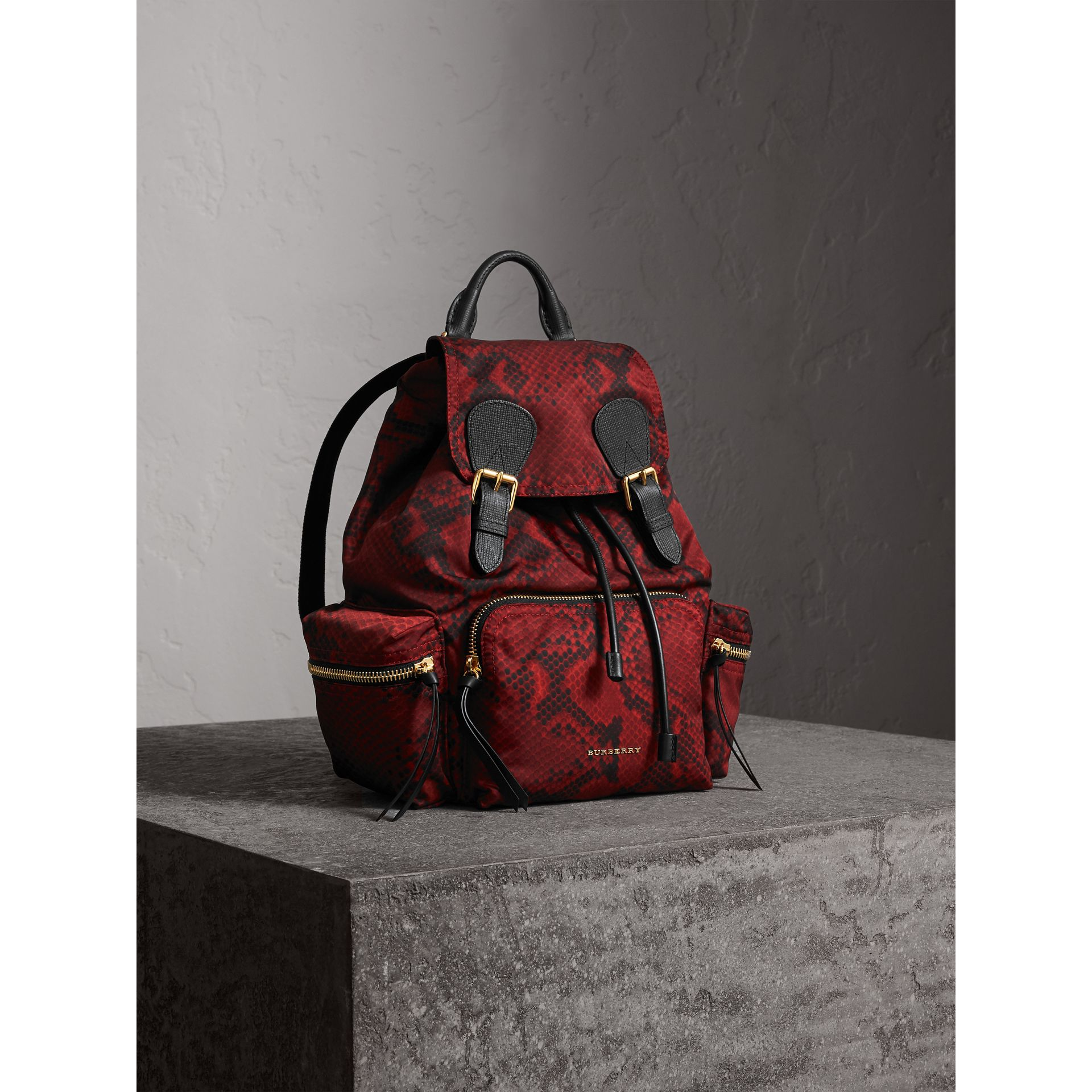 The Medium Rucksack in Python Print Nylon and Leather in Burgundy Red - gallery image 7