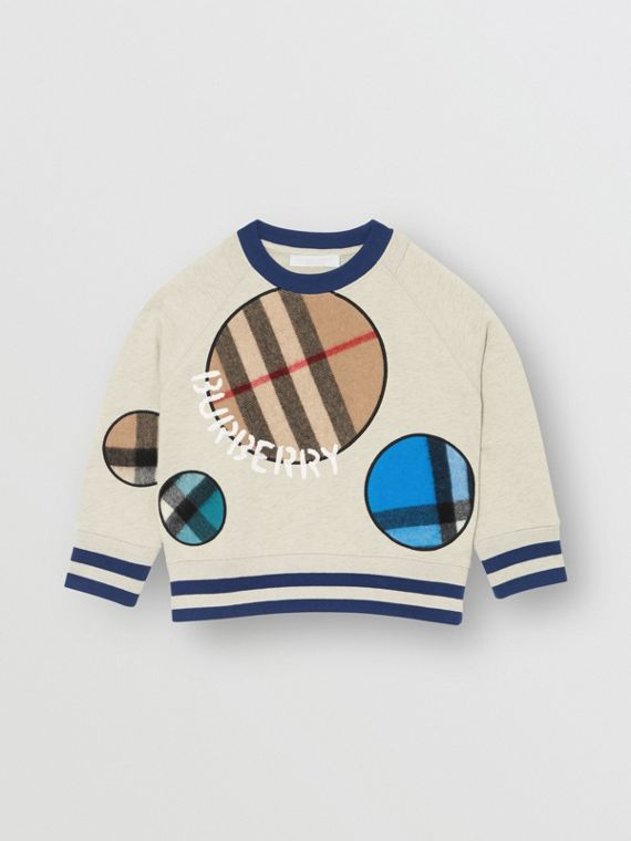 Check Appliqué Cotton Sweatshirt in Multicolour