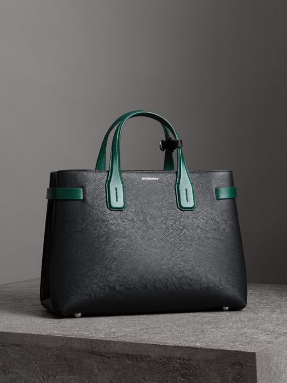 The Medium Banner in Two-tone Leather in Black/sea Green