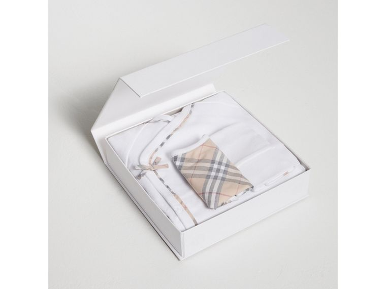 Check Cotton Three-piece Baby Gift Set in White - Girl | Burberry Australia - cell image 2