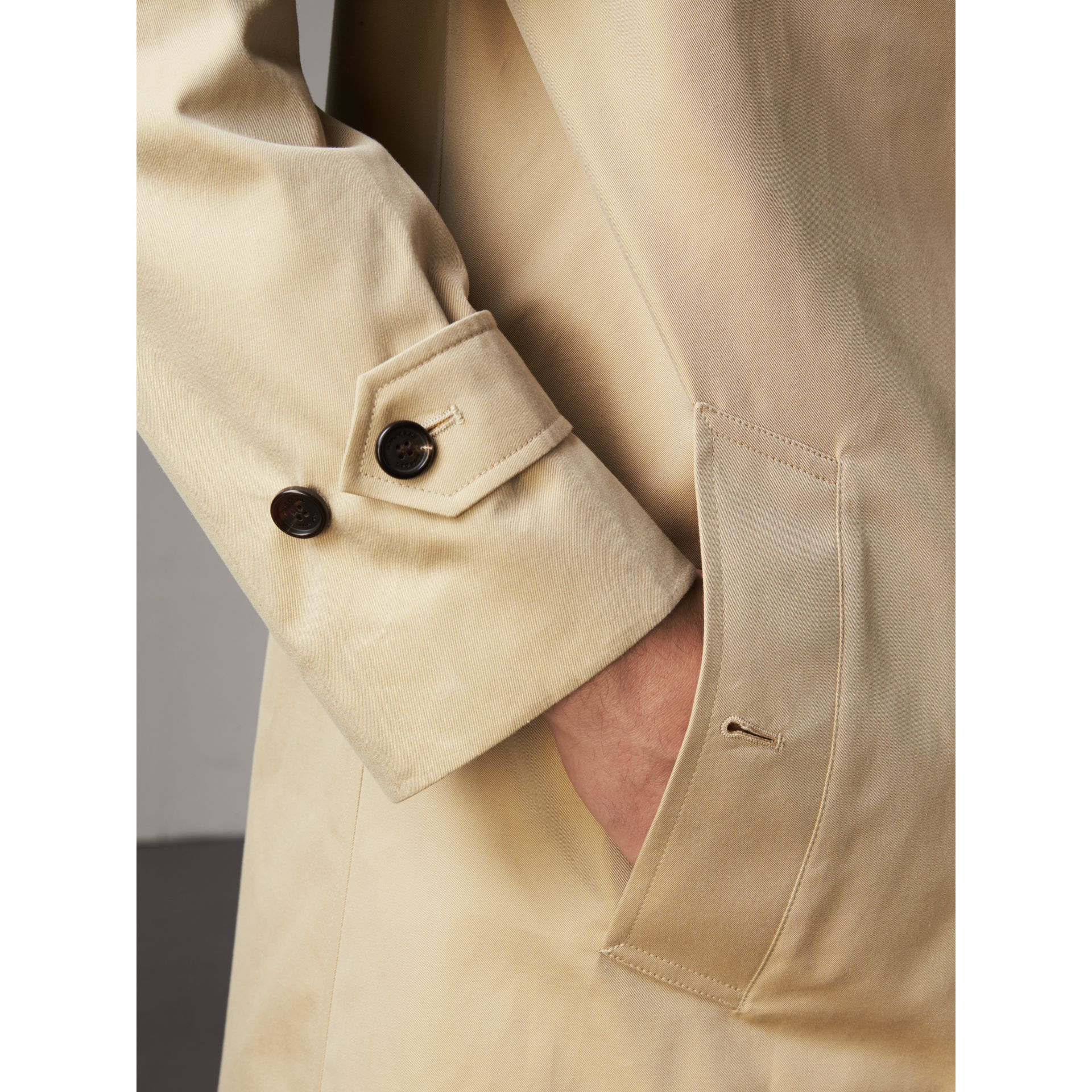 Cotton Gabardine Car Coat in Honey - Men | Burberry - gallery image 6