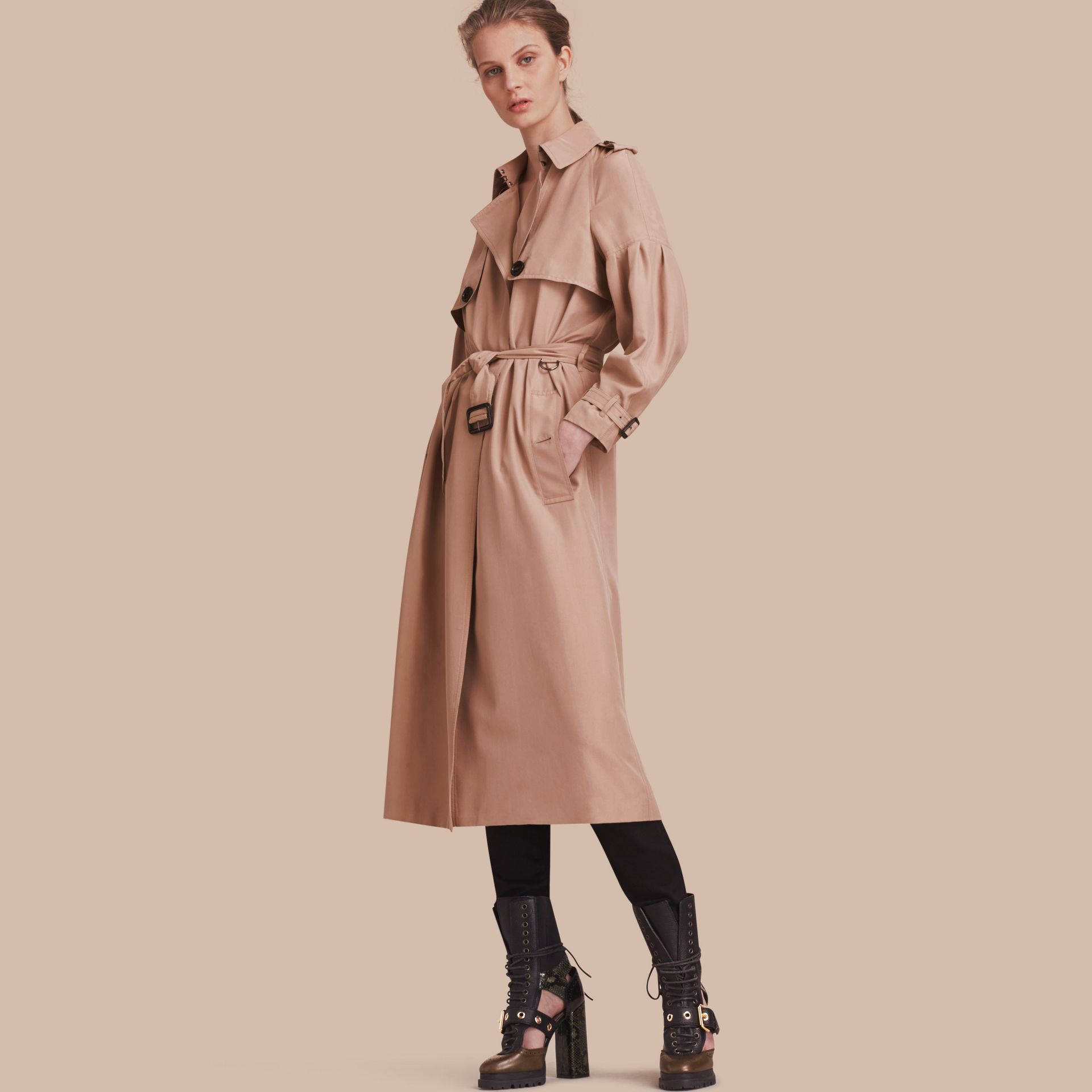 Oversize Silk Trench Coat with Puff Sleeves in Nude - gallery image 1