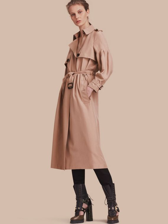 Oversize Silk Trench Coat with Puff Sleeves Nude