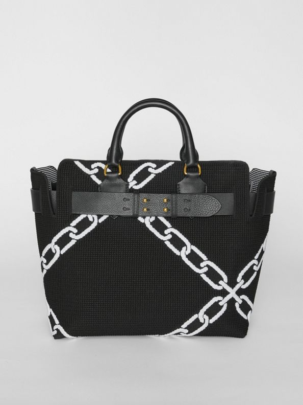 The Medium Knitted Link Belt Bag in Black