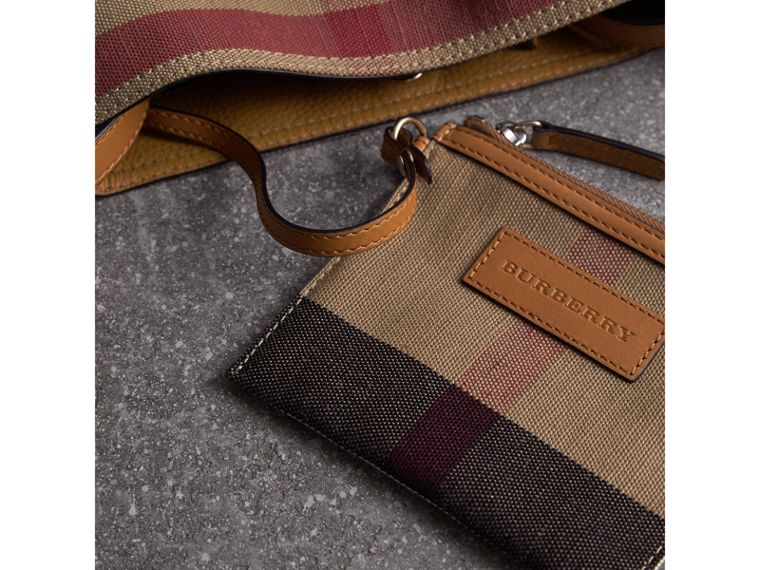 The Small Ashby in Canvas Check and Leather in Saddle Brown - Women | Burberry - cell image 4