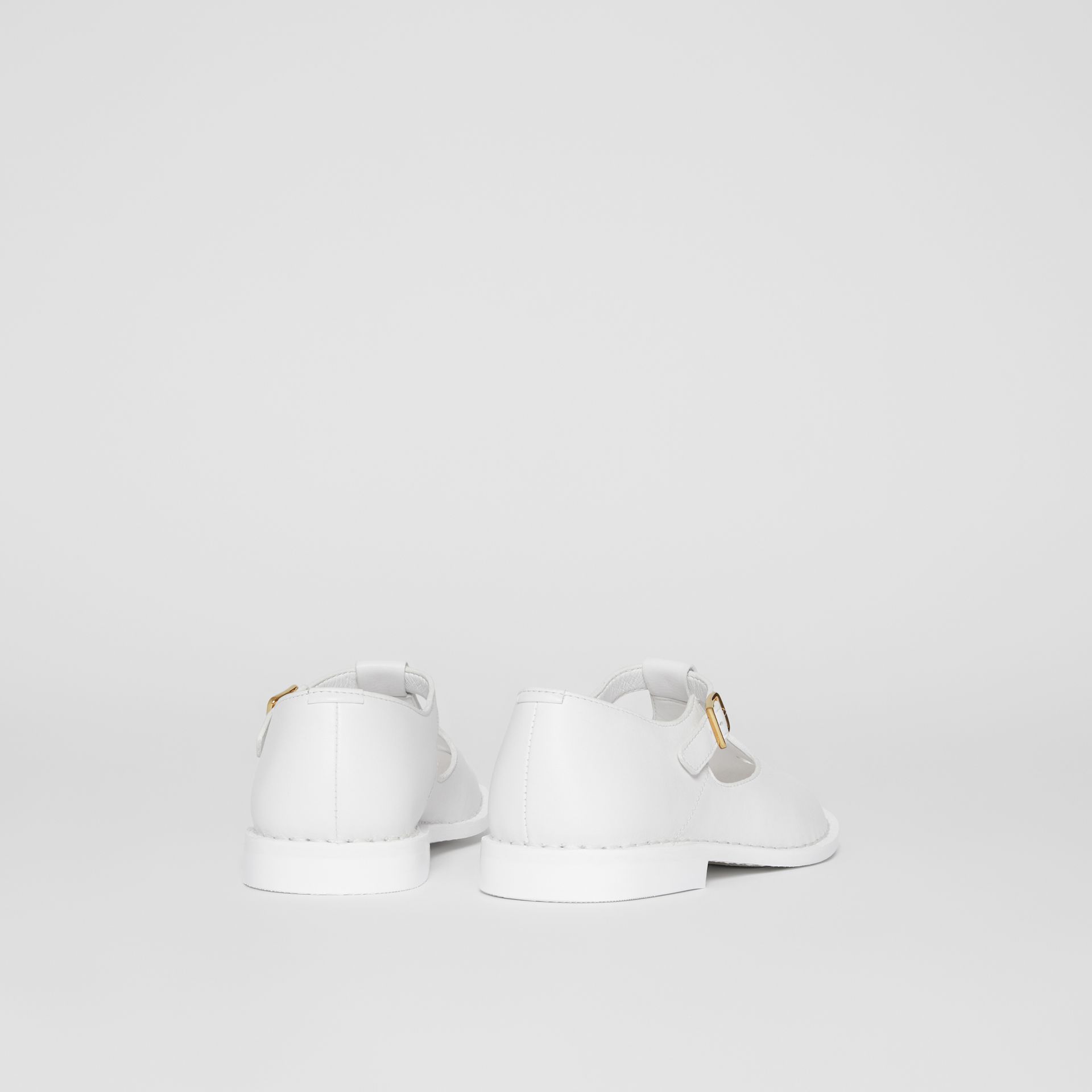 Leather T-bar Shoes in Optic White - Children | Burberry - gallery image 2