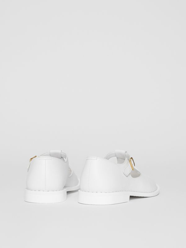 Leather T-bar Shoes in Optic White - Children | Burberry - cell image 2
