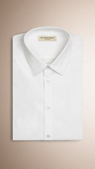 Slim Fit Short-sleeved Stretch Cotton Shirt