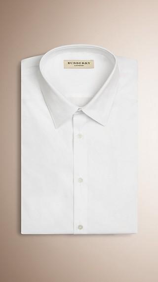 Slim Fit Short-sleeved Stretch Cotton Shirt