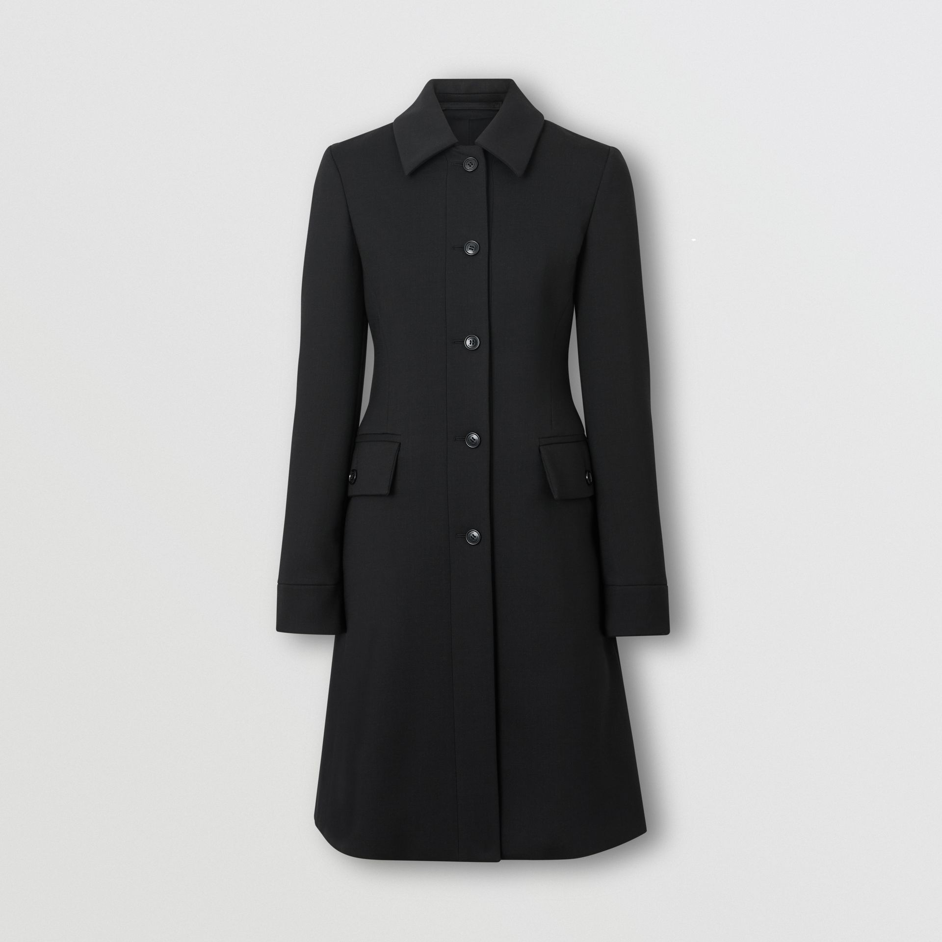 Wool Silk Tailored Coat in Black - Women | Burberry - gallery image 3