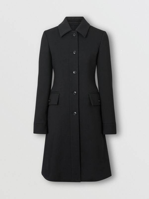 Wool Silk Tailored Coat in Black - Women | Burberry Canada - cell image 3