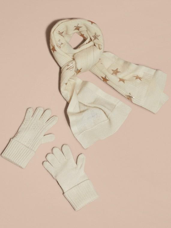 Avorio/oro Set regalo da due pezzi in cashmere con stampa - cell image 2