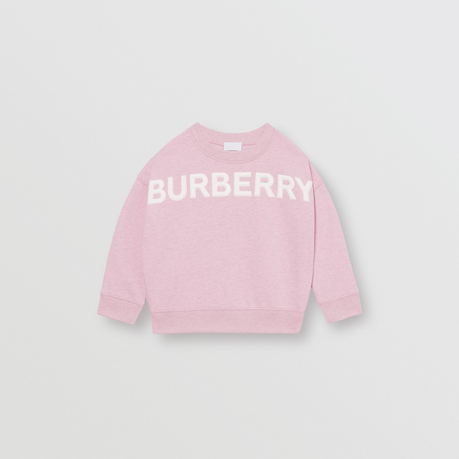 Logo Detail Cotton Sweatshirt in Pale Neon Pink - Girl | Burberry - gallery image 0