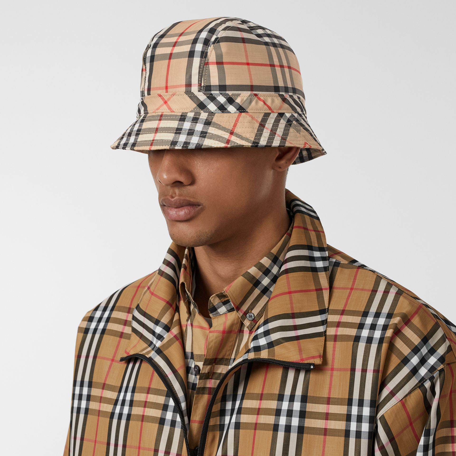 Vintage Check Bucket Hat in Archive Beige | Burberry Australia - gallery image 3